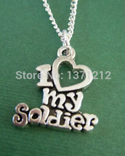 10pcs Vintage Silver I love my soldier Charms Pendants Necklaces Fashion Jewelry DIY For women Man A618(China)