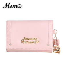 MSMO Cardcaptor sakura purse wallet cute anime leather trifold slim mini wallet women small clutch female purse coin card holder