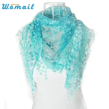 Womail  Good Deal  New Fashion Lace Tassel Floral Print Triangle Mantilla Scarf Shawl For Womens Girls Perfect Gift  1PC