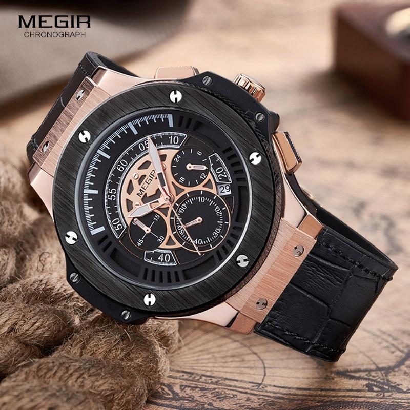 MEGIR Mens Watches Top Brand Luxury Men Military Sports Chronograph Luminous Wristwatch Leather Quartz Watch relogio masculino<br>