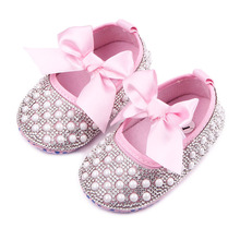 TongYouYuan Baby Newborn Infant Toddler First Walkers Shoes Crib Bebe Soft Soled Crystal Pearl Diamond Mary Jane Big Bow Shoe(China)