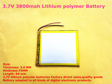 best battery brand Size 367594 3.7V 3800mah Lithium polymer Battery With Protection Board For GPS Tablet PC Digital Products Fre