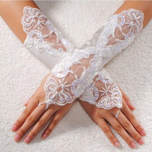 High Quality Women Sexy Black White Lace Fingerless Gloves Floral Rhinestone Party Long Gloves(China)