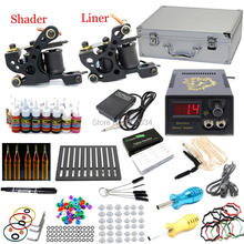 USA Dispatch Pro Tattoo Kit 2 Machine Guns Liner Shader 28 Inks Colors 50 Needles LCD Power Grips Tips Set Supply