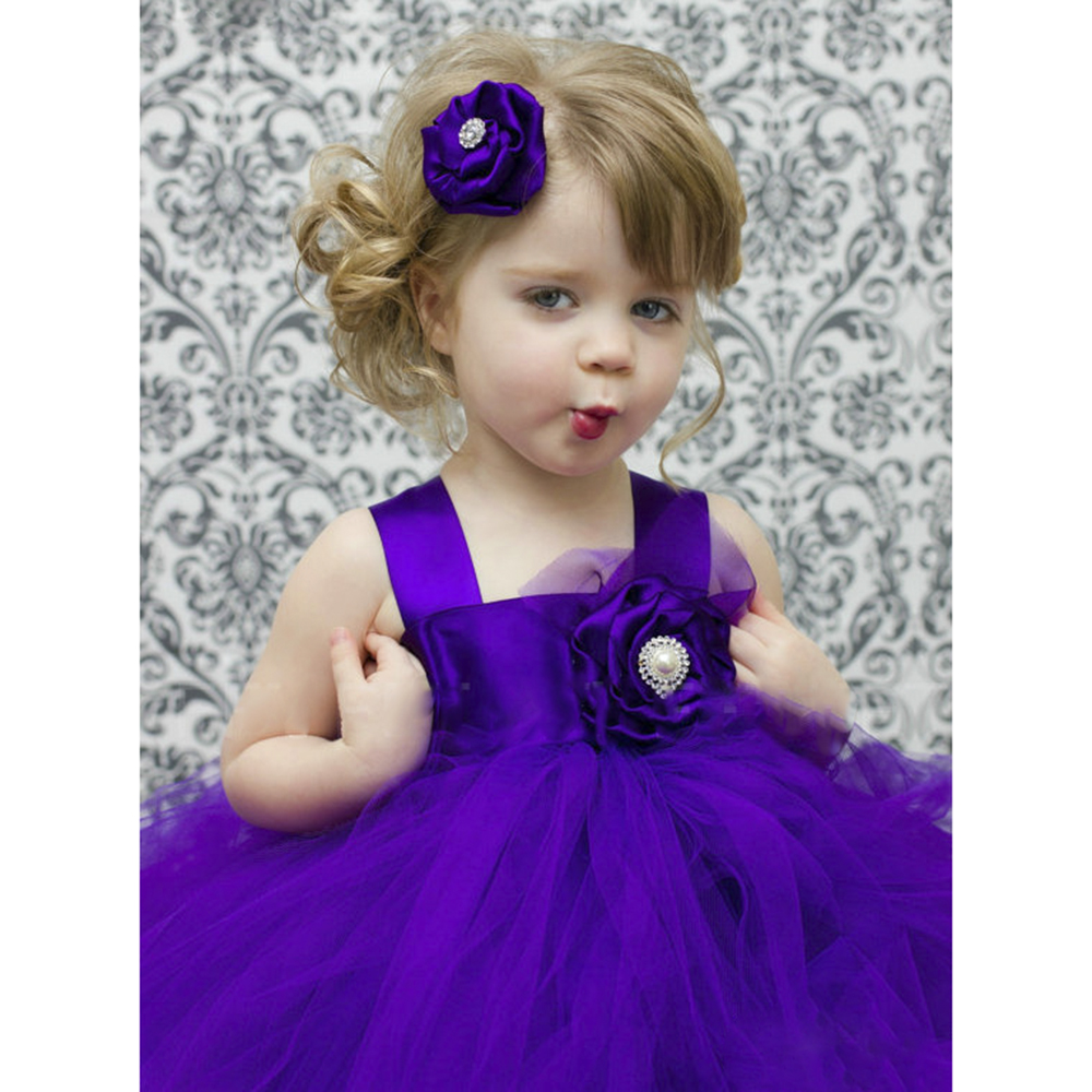 Dollbling Dollbling 2016 New Design Purple Dresses For Girls Floral Sleeveless Kids Birthday Wedding Princess Dresses Toddler Gi<br>