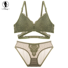 Buy ALINRY sexy lace bra set women floral push wire free padded bandage lingerie transparent panty intimate underwear bralette