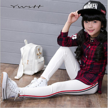 TWSTT In the spring of 2017 children leggings Han edition side red and blue stripes girls leggings(China)