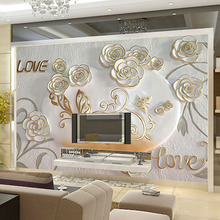 Custom Modern Minimalist Wall Mural Romantic Relief Rose Photo Wallpaper For Walls Customized Living Room Wall Contact Paper