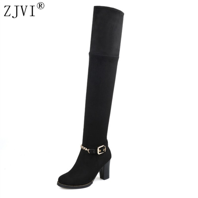 ZJVI Nubuck over the knee boots Ladies autumn winter women 2018 suede womens female fashion shoes woman thigh high riding boots<br>