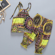 Baby Cloth Set Summer Fashion Halter Tops and Cropped Pants Cool Girls Clothing Beach Baby Girl Clothes Great Brithday Gifts(China)
