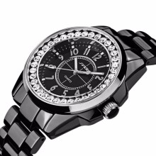Casual Watches Unisex Quartzwatch men women Analog watches SINOBI Watches luxury Ceramics looks women Rhinestone dress watches(China)