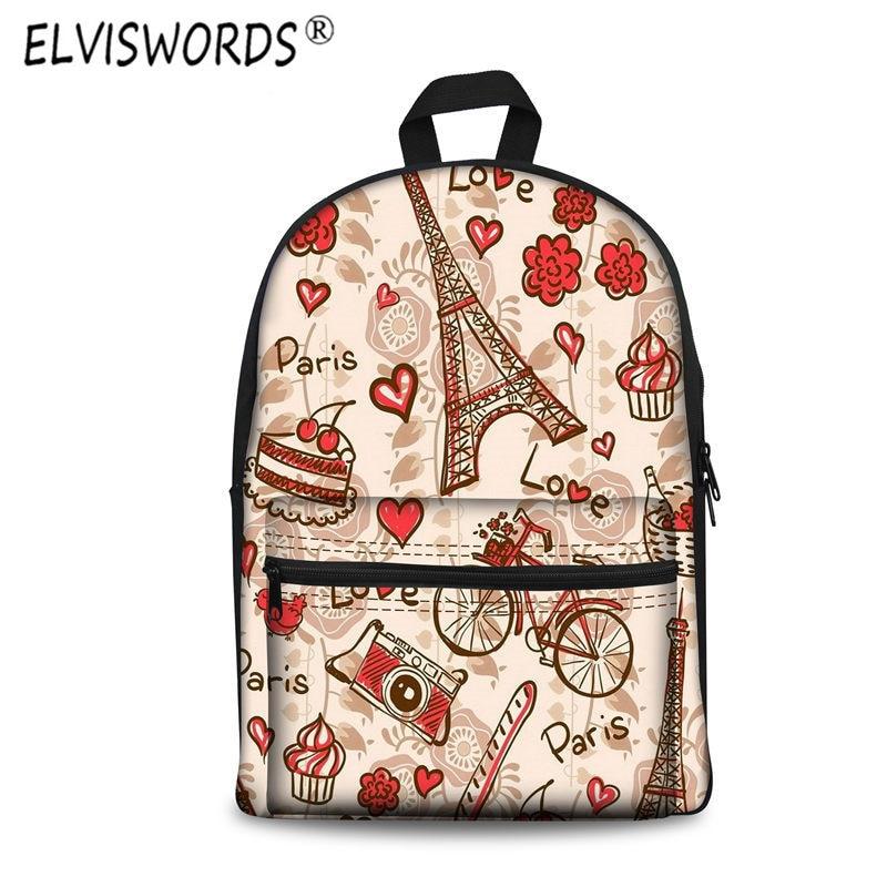 ELVISWORDS Paris Eiffel Tower Printing Backpacks Female Women Bag Korean Cartoon Graffiti Girl Back Bag Satchel Ladies Mochilas<br>