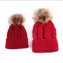 2Pcs/Pair Family Matching Outfits Mother and Kid Baby Child Warm Winter Knit Beanie Fur Pom Hat Crochet Ski Cap(China)