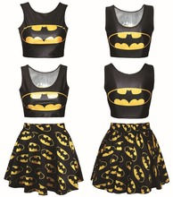 Harajuku 3D batman crop top and skirt set women 2 piece set skirt top girl skirs clothing track suit casual sporting suit women