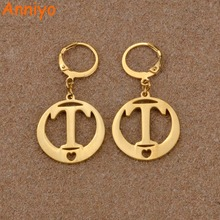 Anniyo (T U V W X Y Z)Gold Color Letters Earrings Initial for Women/Girl,Alphabet Earring English Letter Jewelry Gift #023021(6)(China)