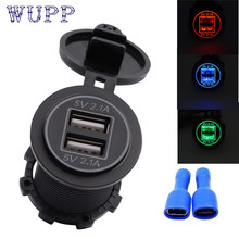 car-styling 5V 4.2A Dual USB Charger Socket Adapter Power Outlet for 12V 24V Motorcycle Car Fe22