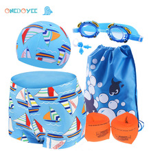 ONEDOYEE Children Swimming Trunks Cap Goggles Arm float 6in1 Sets Kids Swimming Cartoon Pats Hats Polyester Boys Swimwear(China)