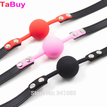 Tabuy Adult Games 3 Colors Rubber&Pu Leather Erotic Toys Silicone Ball Gag Open Mouth Gag Sex Toy Slave Gag For Couples
