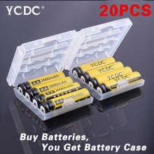 Cheap 20pcs Ni-MH 1.2V AA Rechargeable 2000mAh Neutral Battery Rechargeable battery AA batteries With Battery Case(China)