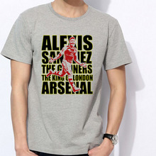 Men's Short sleeve t-shirt Alexis Sanchez Chile Arsenal London Premier League Emirates Stadium ARS 100% cotton tshirt jersey fan
