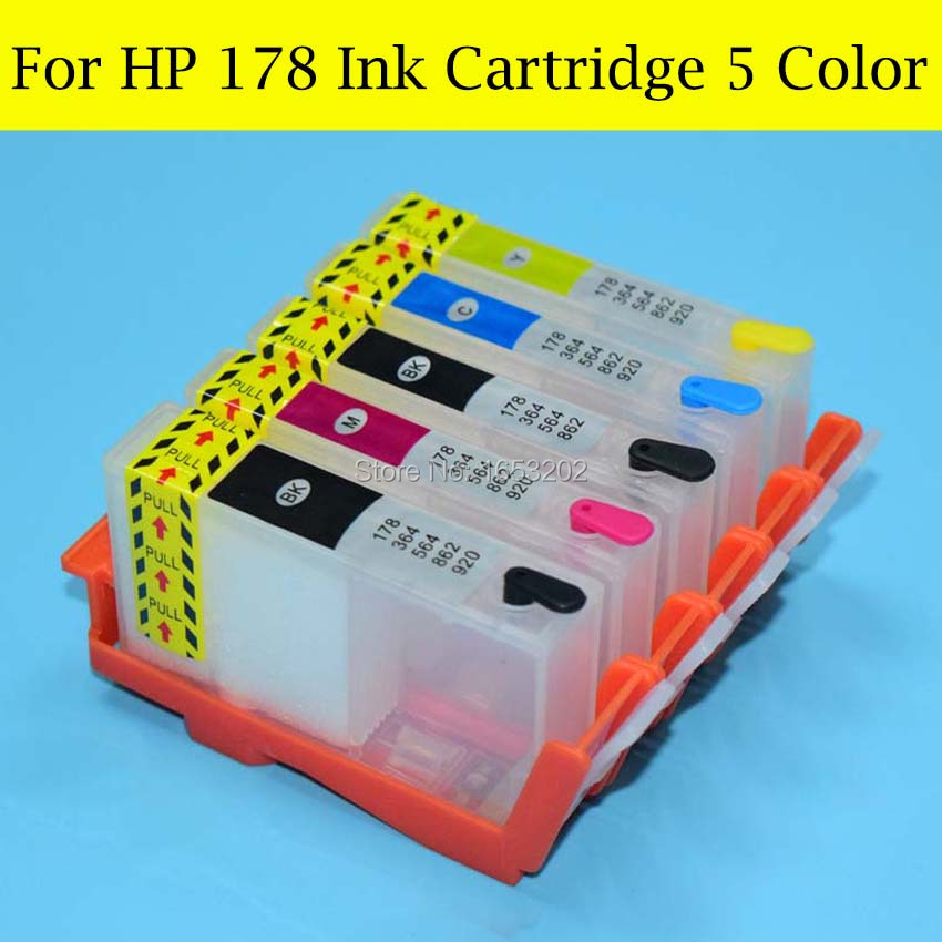 5 Pieces/Lot 178 Ink Cartridge With For HP 178 ARC/Auto Reset Chip For HP 7510 C5380 C6380 C6380 D5460 D5463 Printer<br><br>Aliexpress
