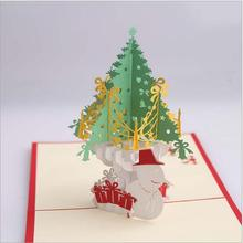 Christmas creative three-dimensional Christmas card 3D paper carved hollow custom postcard blessing small card Christmas tree(China)