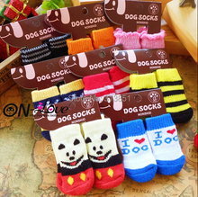 Pet Products Supplies Dog Socks Dog Boots Shoes Cute Warm Indoor Skid-resistant Anti-slip More Colors Free Shipping 4PCS/SET(China)