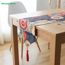 Fashion Home Double-deck cotton table runner Southeast Asian nation Vintage Style Table flag and Placemat