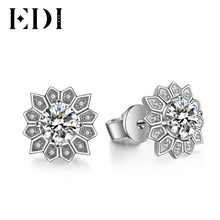 EDI Women Luxury Classic 14K 585 White Gold 0.5CT Round Cut Diamond Wedding Earrings For Women Fine Jewelry Party Gifts(China)