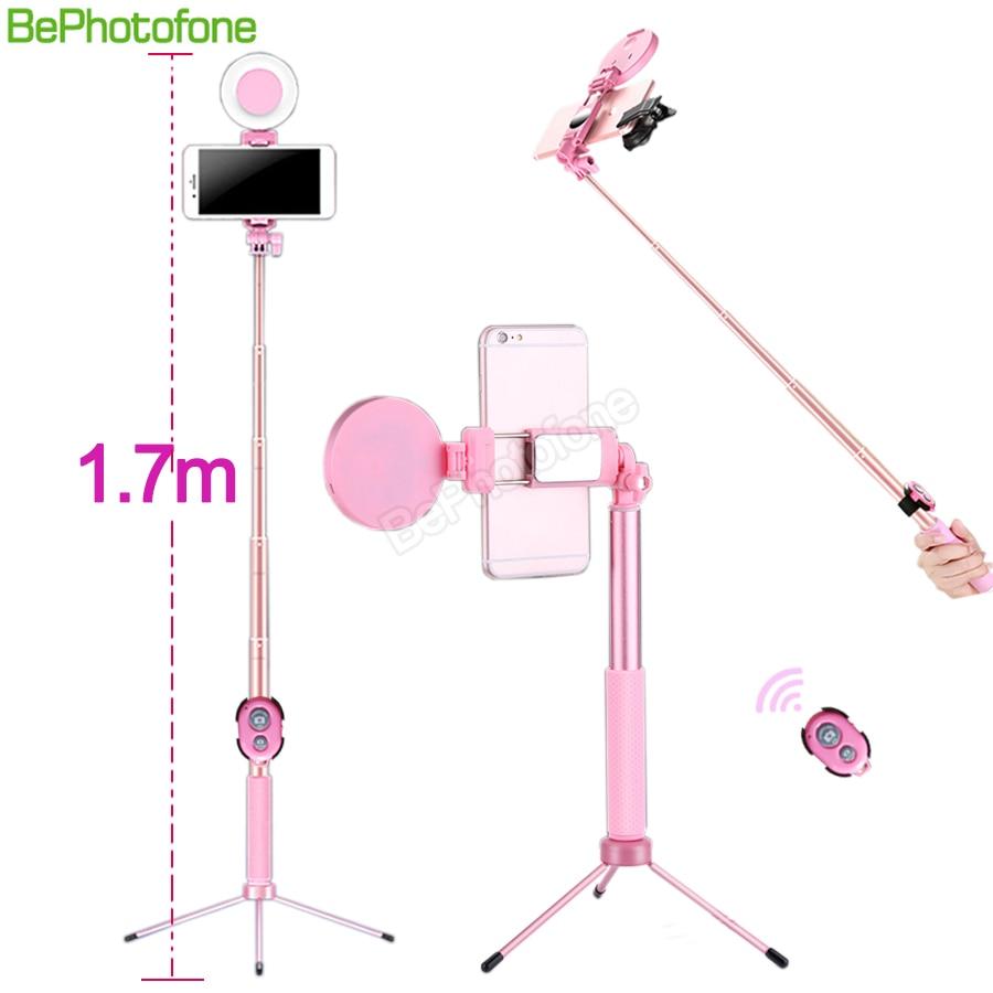 Tripode, Selfie stick, luz LED, y control remoto