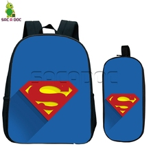 Comics batman logo backpack for children school bags 2 pcs/set boys girls superman crazy joker kids kindergarten backpack(China)