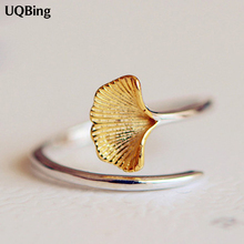 New Arrivals 925 Sterling Silver Rings For Women Girl Jewelry Ginkgo Flowers Rings Adjustable Rings