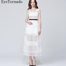 2017 women spring summer white slim long flower embroidery lace organza patchwork sexy party work beach dress 8675(China)