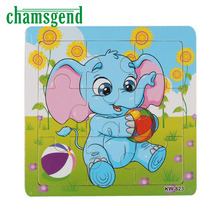 CHAMSGEND Modern Animals Puzzle Wooden Cartoon Puzzle Toy Education Kids Leopard Elephant Horse Tiger H31