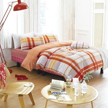 4pcs bright plaid/stripe pattern queen size bedding set,bed linen family duvet cover set king size brief bright orange color