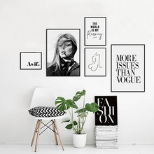 Vogue Picture Nodic Canvas Painting Fashion Wall Art Print , Trendy Girl Poster Gallery Painting Print Wall Art Decor(China)