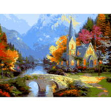 Autumn landscape Modern Style Picture On Wall Acrylic Paint DIY Painting By Numbers Coloring By Numbers Gift 40*50cm with frame