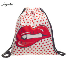 Jorgeolea Red Lips 3D Printing Backpack String Backpacks Drawstring Girl Shopping Bag Retails and Wholesale