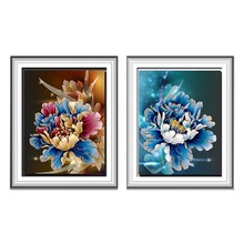 5D Magic Cube Diamond Embroidery DIY Blue Red Peony Flowers Pattern Diamond Embroidery Cross stitch Kit Home Decor Craft(China)