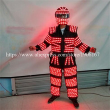 Colorful Led Luminous Robot Suit LED Clothing Growing Light Kryoman Ballroom Party Costume For Night Club Bar DJ(China)