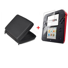 Black EVA Protector Hard Travel Carry Case cover Pouch bag+Protective Clear Touch Seal Film Screen Guard Set for nintendo 2DS