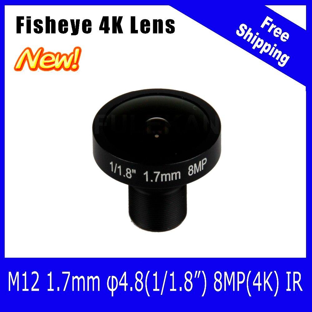 4K Lens 8Megapixel Fisheye M12 Mount Lens 1.7mm 1/1.8 Inch 185 Degree For IMX178 Sensor 4K Camera Free Shipping<br>