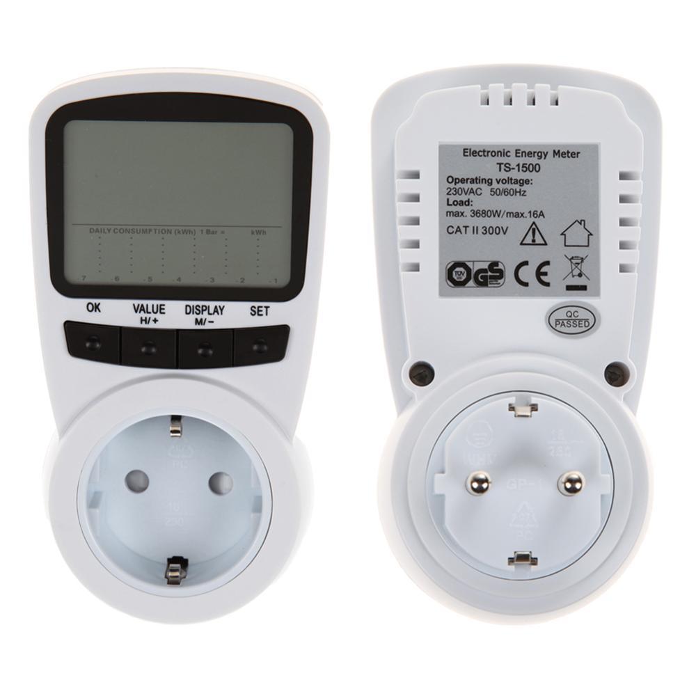 1pcs EU Plug Digital LCD Electric Saving Power Energy Meter Voltage/Wattage/Current Monitor Checker Power Meter Analyzer AC230V<br><br>Aliexpress
