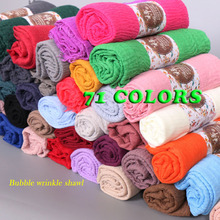 100pcs/lot bubble plain shawls fringes cotton long soft solid bandana shawl muslim hijab head wrap muffler scarf/scarves(China)