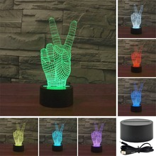 AUCD Colorful 3D YES Victory Gestures Acrylic Visual Light LED Lamp Bedroom Table Decoration Lamps Night Light Gifts 3D-TD99
