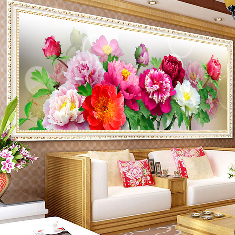 2015 Chinese Peony Trends 5D DIY Diamond Embroidery Flowers DMC Colorful Top Design Diamond Painting Flowers Diamond Picture(China (Mainland))