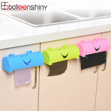 Plastic Candy Color Smile Face Home Eco-friendly Wall-mounted Garbage Bag Storage Box Kitchen Bathroom Container Organizer