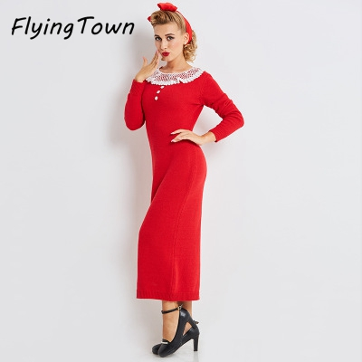 FlyingTown long sleeve sweater dress X-long Peter pan lace collar red knitted clothes 2017 winter thick warm women lady knitwearÎäåæäà è àêñåññóàðû<br><br>