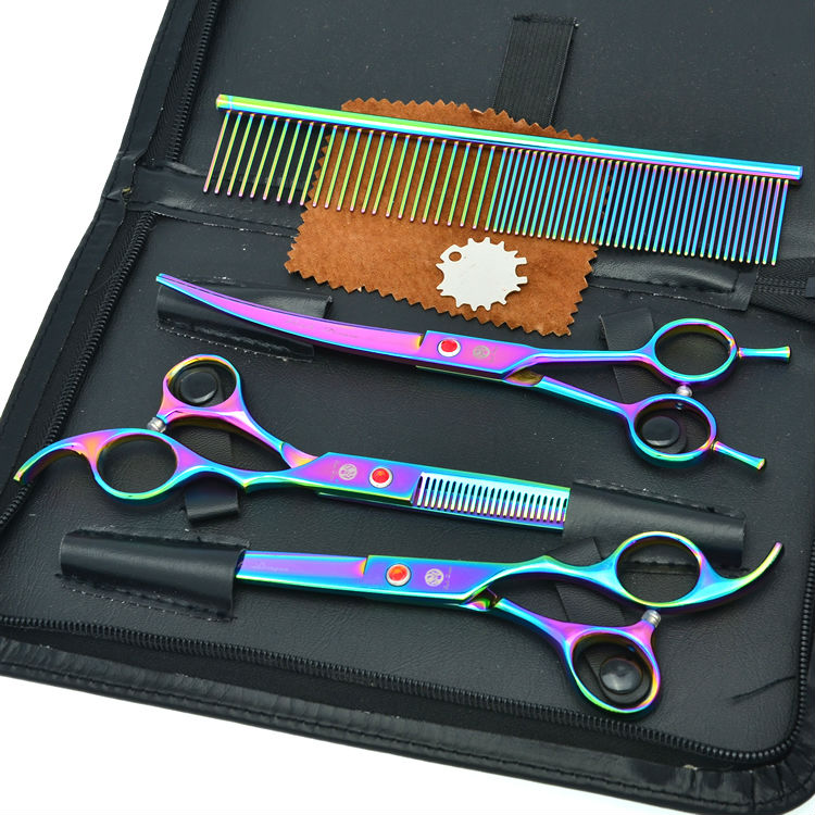 8.0 Pet Scissors Set Dog Grooming Hair Shears Cutting &amp; Thinning &amp; Curved Scissors Animal Hair Tool, LZS0420<br>