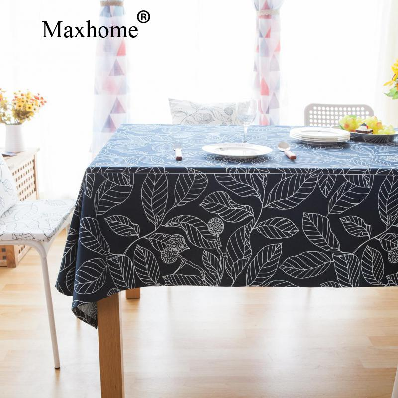 european simple table cloth cotton fabric tablecloths blue and white leaves table cloths toalha de mesa - Cloth Tablecloths